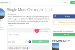 Single mom Lyft driver needs $2500 and expenses for while car is repaired.